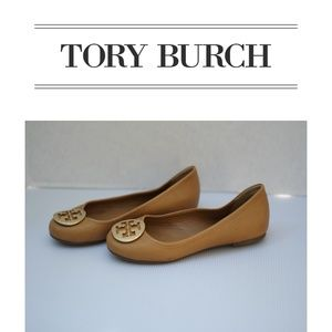 "Tory Burch | ""Reva"" Camel Leather Ballet Flats"